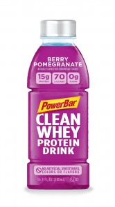 PowerBar Clean Whey Protein Drink made with 15g of protein, 70 calories, 0g of sugar and 7 simple ingredients to help you refresh and recharge. (select for hi-res version)