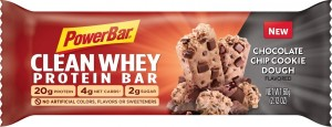 PowerBar Clean Whey Protein Bar made with 20g of protein, 2g of sugar and 5g net carb count for long lasting energy and satiety.